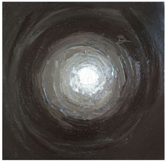 ©2011 Lisa Brugger Light Into Darkness - Acrylic on Canvas 18 X 18