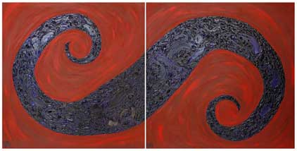 ©2007 Lisa Brugger Karmic Swirl - Acrylic with Mix Media on Canvas 48 X 48 each