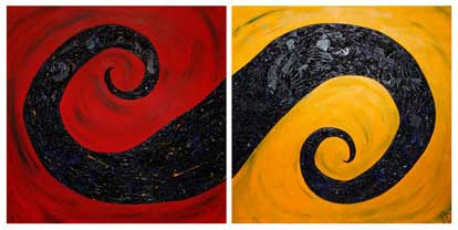 ©2008 Lisa Brugger Mystic Swirl - Acrylic with Mix Media on Canvas 48 X 48 each