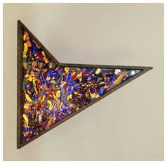 ©1995 Lisa Brugger Angled Energy - Wood w/Canvas Board Sculpture 23x 23 x 2